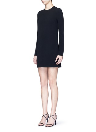 Front View - Click To Enlarge - Victoria Beckham - Geometric floral lace back long sleeve dress