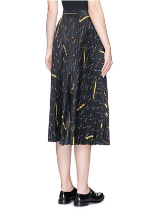 Back View - Click To Enlarge - Victoria Beckham - Matchstick print sunray pleat crepe midi skirt