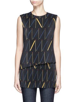 Main View - Click To Enlarge - Victoria Beckham - Matchstick print plissé pleat sleeveless top