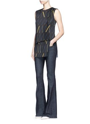 Figure View - Click To Enlarge - Victoria Beckham - Matchstick print plissé pleat sleeveless top