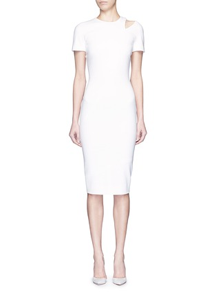 Main View - Click To Enlarge - Victoria Beckham - Curve seam fitted cutout shoulder dress