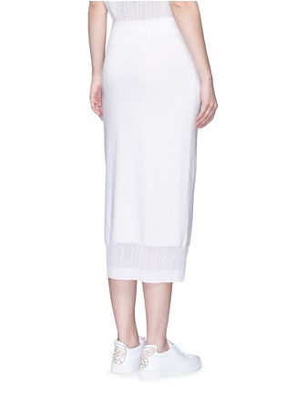 Back View - Click To Enlarge - Victoria Beckham - Cable knit trim pencil skirt