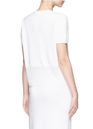 Back View - Click To Enlarge - VICTORIA BECKHAM - Cable knit trim short sleeve top