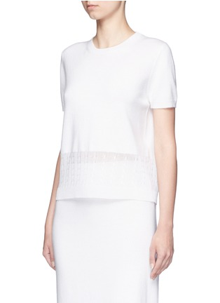 Front View - Click To Enlarge - VICTORIA BECKHAM - Cable knit trim short sleeve top