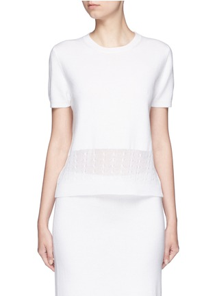 Main View - Click To Enlarge - VICTORIA BECKHAM - Cable knit trim short sleeve top