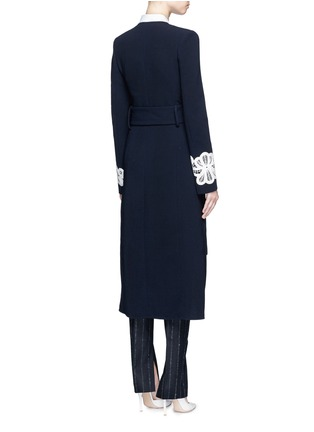 Back View - Click To Enlarge - Victoria Beckham - Lace appliqué sleeve virgin wool blend coat