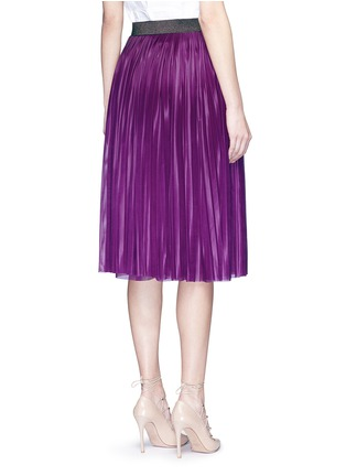 Back View - Click To Enlarge - Victoria Beckham - Metallic waistband plissé pleat jersey skirt