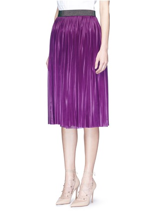 Front View - Click To Enlarge - Victoria Beckham - Metallic waistband plissé pleat jersey skirt