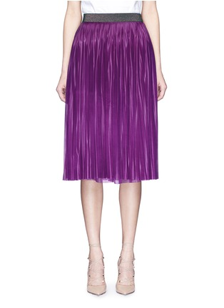 Main View - Click To Enlarge - Victoria Beckham - Metallic waistband plissé pleat jersey skirt