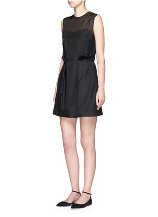 Figure View - Click To Enlarge - VICTORIA, VICTORIA BECKHAM - Paperbag waist embroidered gauze dress