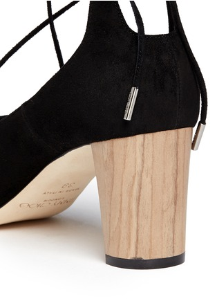Detail View - Click To Enlarge - Jimmy Choo - 'Vernie' wood effect heel suede sandals
