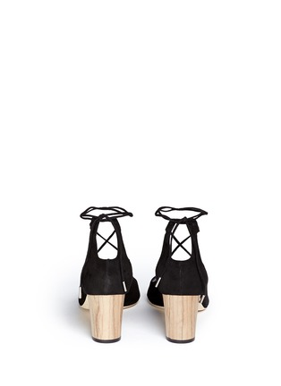 Back View - Click To Enlarge - Jimmy Choo - 'Vernie' wood effect heel suede sandals