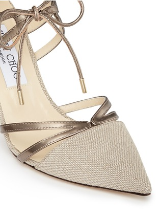 Detail View - Click To Enlarge - Jimmy Choo - 'Hime' mirror leather trim metallic canvas pumps