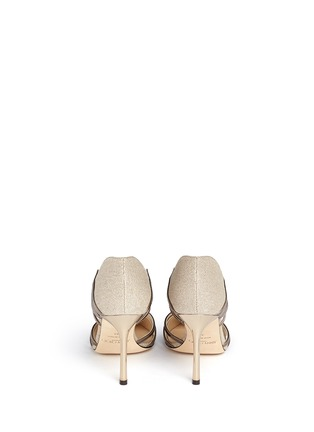 Back View - Click To Enlarge - Jimmy Choo - 'Hime' mirror leather trim metallic canvas pumps