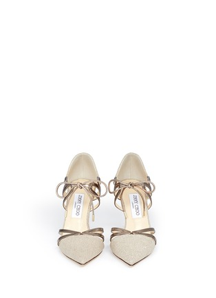 Front View - Click To Enlarge - Jimmy Choo - 'Hime' mirror leather trim metallic canvas pumps