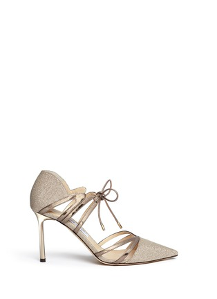 Main View - Click To Enlarge - Jimmy Choo - 'Hime' mirror leather trim metallic canvas pumps