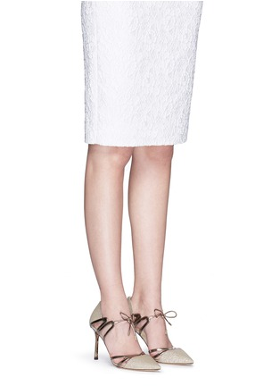 Figure View - Click To Enlarge - Jimmy Choo - 'Hime' mirror leather trim metallic canvas pumps