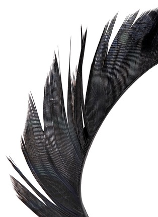 Detail View - Click To Enlarge - YUNOTME - 'Lisbeth' feather trim velvet headband