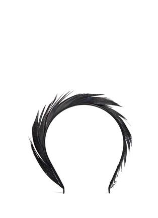 Main View - Click To Enlarge - YUNOTME - 'Lisbeth' feather trim velvet headband
