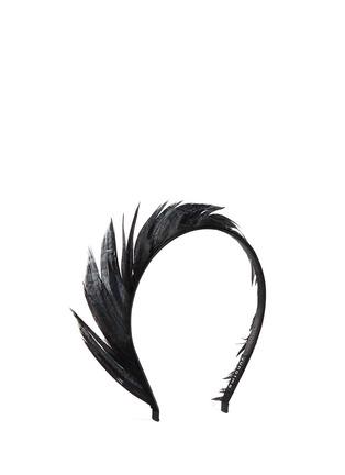 Figure View - Click To Enlarge - YUNOTME - 'Lisbeth' feather trim velvet headband