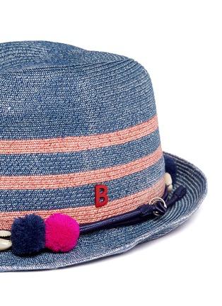 Detail View - Click To Enlarge - My Bob - 'AIX' pompom seashell cordon stripe Panama hat