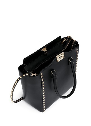 Detail View - Click To Enlarge - Valentino - 'Rockstud' medium leather zip tote