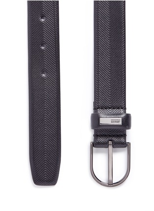 Detail View - Click To Enlarge - Armani Collezioni - Chevron stripe leather belt