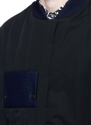 Detail View - Click To Enlarge - Marni - Side split quilted wool bomber jacket