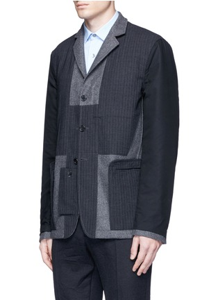 Detail View - Click To Enlarge - Marni - Reversible pinstripe patchwork wool flannel blazer