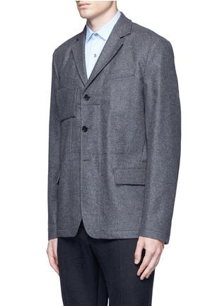 Front View - Click To Enlarge - Marni - Reversible pinstripe patchwork wool flannel blazer