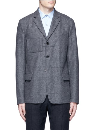 Main View - Click To Enlarge - Marni - Reversible pinstripe patchwork wool flannel blazer