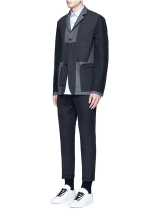 Figure View - Click To Enlarge - Marni - Reversible pinstripe patchwork wool flannel blazer