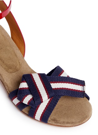 Detail View - Click To Enlarge - Isabel Marant Étoile - 'Polly' knot grosgrain band patent leather sandals