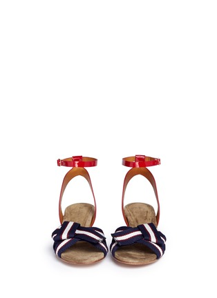Front View - Click To Enlarge - Isabel Marant Étoile - 'Polly' knot grosgrain band patent leather sandals