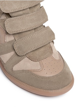 Detail View - Click To Enlarge - Isabel Marant Étoile - 'Bekett' padded leather tongue suede sneakers