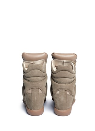 Back View - Click To Enlarge - Isabel Marant Étoile - 'Bekett' padded leather tongue suede sneakers