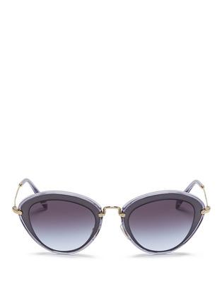 Main View - Click To Enlarge - miu miu - 'Noir' capped acetate metal sunglasses