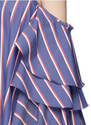 Detail View - Click To Enlarge - Caroline Constas - 'Carmen' stripe poplin off-shoulder bustier dress