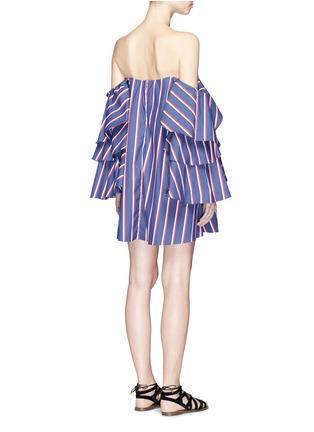 Back View - Click To Enlarge - Caroline Constas - 'Carmen' stripe poplin off-shoulder bustier dress