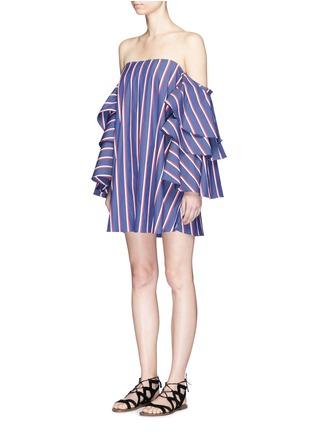 Front View - Click To Enlarge - Caroline Constas - 'Carmen' stripe poplin off-shoulder bustier dress