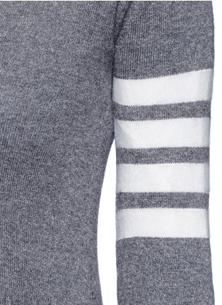 Detail View - Click To Enlarge - Thom Browne - Stripe sleeve cashmere cardigan