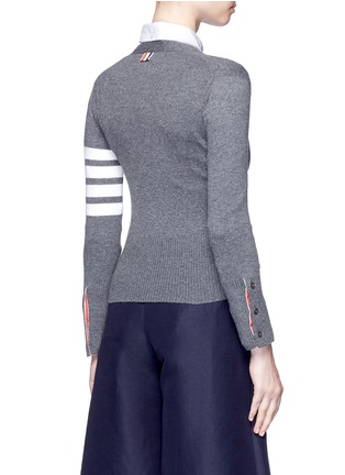 Back View - Click To Enlarge - Thom Browne - Stripe sleeve cashmere cardigan