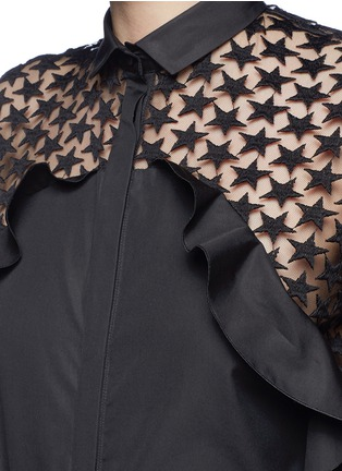 Detail View - Click To Enlarge - GIAMBA - Star embroidery mesh back ruffle shirt