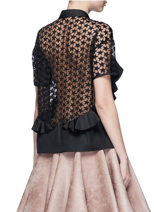 Back View - Click To Enlarge - GIAMBA - Star embroidery mesh back ruffle shirt