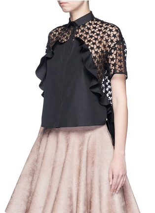 Front View - Click To Enlarge - GIAMBA - Star embroidery mesh back ruffle shirt