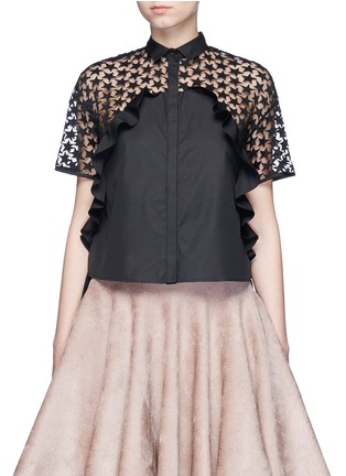 Main View - Click To Enlarge - GIAMBA - Star embroidery mesh back ruffle shirt