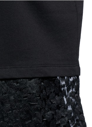 Detail View - Click To Enlarge - Giamba - Embroidered sheer hem sleeveless sweatshirt