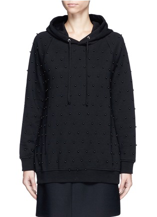 Main View - Click To Enlarge - GIAMBA - Beaded cotton hoodie