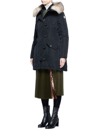 Figure View - Click To Enlarge - Moncler - Aredhel' fox fur drawstring hood twill down parka