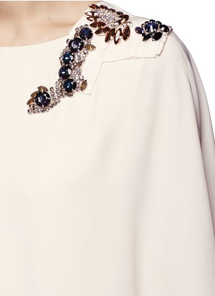 Detail View - Click To Enlarge - Lanvin - Jewelled cape overlay crepe gown
